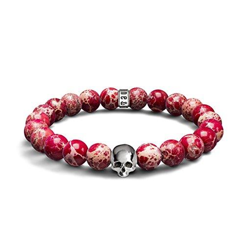Red Sea Sediment Jasper & 925Sterling Silber Totenkopf Armband-Halbedelstein 8mm Perlen-Stretch Armband für Männer & Frauen, Einzigartige Design & Made in United Kingdom (Armband Red Sea)