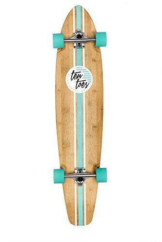 Ten Toes Board Emporium Ten Toes Zed Bamboo Skateboard Cruiser Longboard, Aqua Pipeline, 44 Zoll