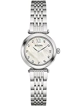 Bulova Diamond 96S167 - Damen Designer-Armbanduhr - Edelstahl - Perlmutt-Zifferblatt