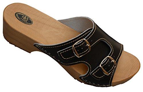Holzpantoletten für Damen Clogs Schuhe mit Absatz Holz Sandalette Leder Clogs Pantolette Schwarz