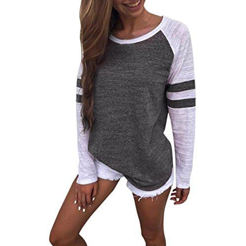 Top Damen Hemd Sweatshirt Hoodie Xinan Langarm T-shirt (L, Dunkelgrau)