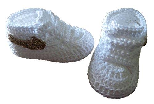 Söckchen Baby (Frühling, Sommer, Herbst) Slipper Typ Nike Logo Gold Handgefertigt 100% Baumwolle 3-6 meses weiß (Häkeln Logo)