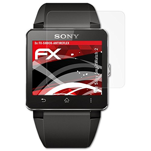 3 x atFoliX Anti-Choque Lámina Protectora de Pantalla Sony SmartWatch 2 Antichoque Película Protectora - FX-Shock-Antireflex