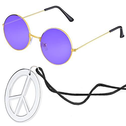 Beelittle Hippie Kostümzubehör für Herren und Damen - Retro John Lennon Hippie 60er Jahre Kreis Brille Friedenszeichen Halskette (Lila)