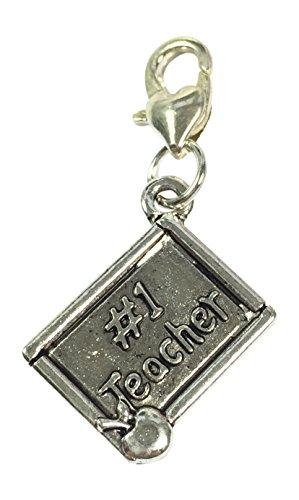No 1Teacher Clip auf Charme mit Organza Geschenkbeutel handgefertigt von Libby 's Market Place