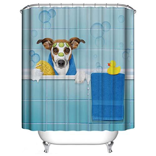 EDQZ Duschvorhang, schöner Badehund, Duschvorhang, Heimdekoration, mit 12 Haken, 180,9 x 182,9 cm Duschvorhang, für Master, Gäste, Kinder, Schlafsaal Badezimmer, Polyester, Shower Curtain -
