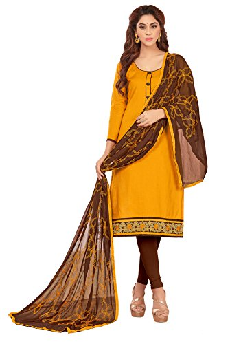 Priyavadhu Women's Slub Cotton straight Unstitched Salwar kameez Dress material (BLFNC11_Mustard_Free Size)