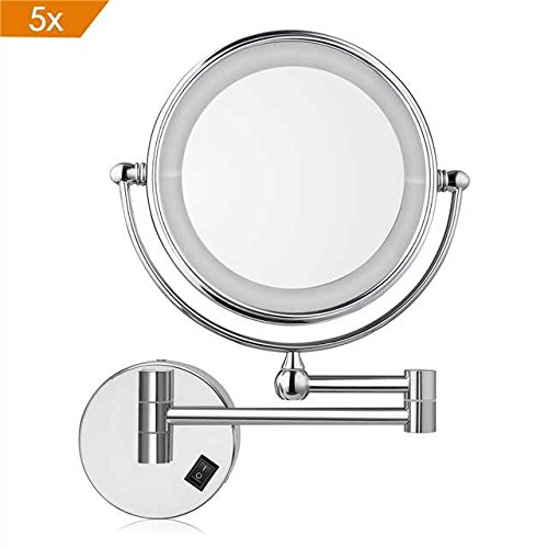 Amzdeal Espejo de aumento de pared, Espejo tocador, Con luz LED, 5x Aumento, Doble cara giratoria de 360 °, Fácil de instalar