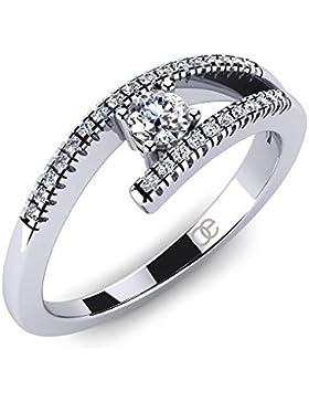 Moncoeur Damen-Ring Edelweiss 925 Sterlingsilber Zirkonia Pavé