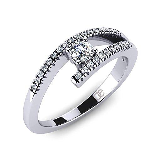 Verlobungsringe in echtem 925 Sterling Silber + Verlobungsring für Damen Trauring + höchste Qualität + SWAROVSKI Elements Zirkonia + Solitärring Antragsring...