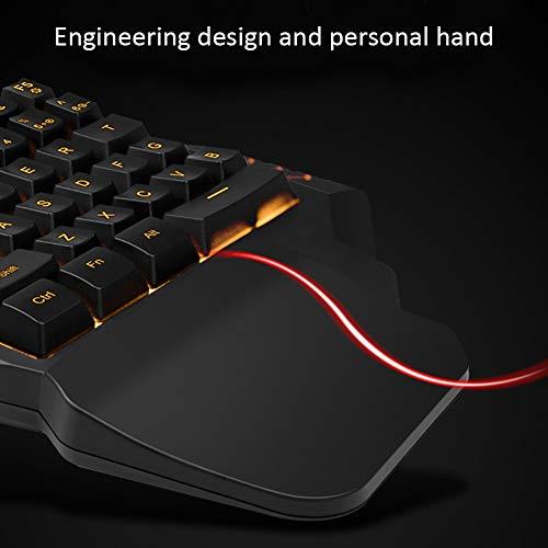 Pueri Clavier mécanique clavier de jeu à une main mini-clavier de jeu repose-mains à 35 touches Clavier de jeu RVB Contre-jour coloré 9