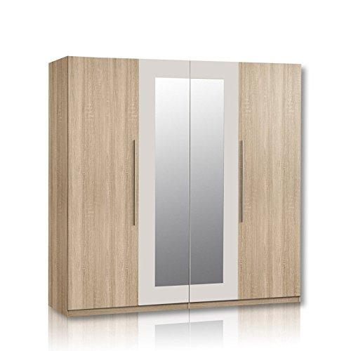 Unbekannt Kleiderschrank Helen - Eiche Sonoma - Spiegel - 228 cm