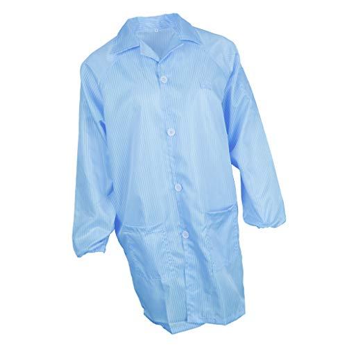 perfk Arbeitsmantel Berufsmantel Kittel Arbeitsbekleidung Workwear Schutzkleidung mit knöpfen und Tasche für Labor, Antistatisch - Blau, M
