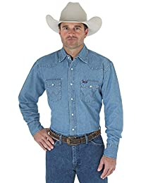a1f8de68e3 Wrangler Men s Cowboy Cut Work Western Long Sleeve Shirt