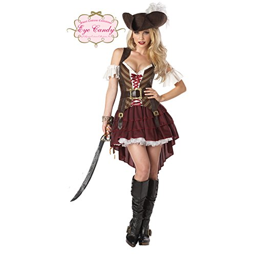 Sexy Costume Swashbuckler Pirate Set, Burgundy Woman Fancy Dress (Lady Sexy Piraten Kostüme)