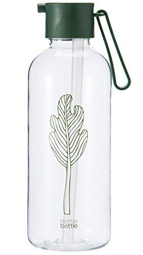bottlebottle Tritan BPA Frei Schmal Mund Klar Sport Wasser Flasche mit Trinkhalm Deckel, Klauenhammer,/34oz, Leave, 20oz -