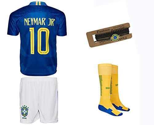 Brasilien Neymar #10 2018 Auswärts Trikot und Shorts mit Socken und Wickel Armband Kinder und Jugend Größe