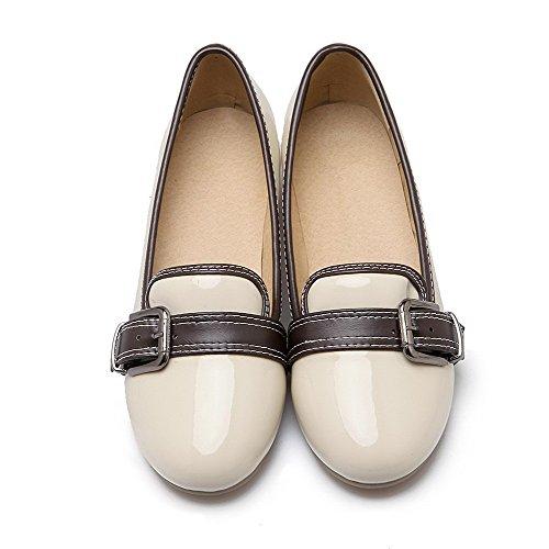 AllhqFashion Damen Rund Zehe Ziehen Auf Gemischte Farbe Niedriger Absatz Pumps Schuhe Cremefarben