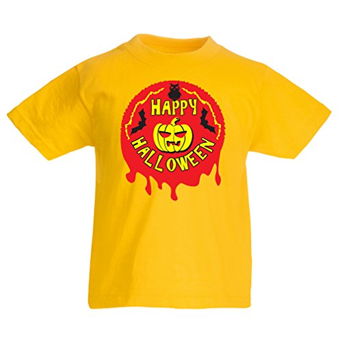 Kostüm Man Simple (Kinder T-Shirt Happy Halloween! - party clothes - pumpkins, owls, bats (9-11 years Gelb)