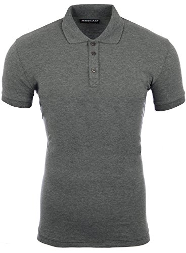 Reslad Poloshirt Herren Basic Slim Fit Kurzarm Pique Polo-Shirt RS-5090 Anthrazit XL