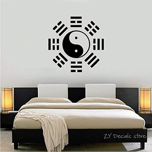 Yin Yang Oriental Chinese Symbol Wandtattoos Taiji Wandaufkleber Abnehmbare Kunstwandhauptdekoration Schlafzimmer Wandtattoo 56x56 cm