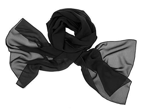 Bridesmay donna chiffon scialli da sposa prom wraps sera sciarpe black s 180cm*72cm