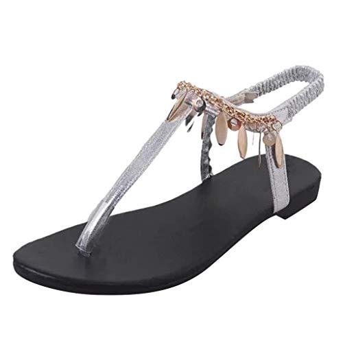 HILOTU Einfache Flache Sandalen Für Frauen Frühling Sommer rutschfeste Persönlichkeit Knöchelriemen Sandalen Fashion Beach Metallschnalle Kette Dekor Hausschuhe (Color : Sliver, Size : 37 EU)