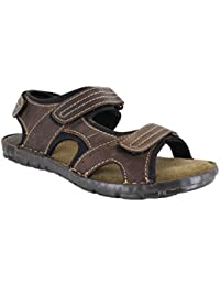 942c19a78afc Red Tape Tay Mens Brown Leather Touch Fastening Strap Summer Sandals