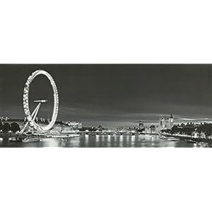 Garden Market Place Leinwandbild, Motiv London Eye, mit 10 LED-Lichtern, 100 x 40 x 2 cm, Schwarz/Weiß