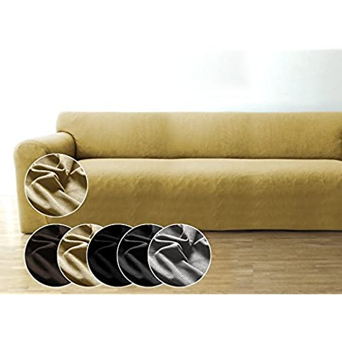 Funda de sofá Bellboni, forro de sofá, funda ajustable bielástica, apta para muchos sofás normales de 3 plazas, crema
