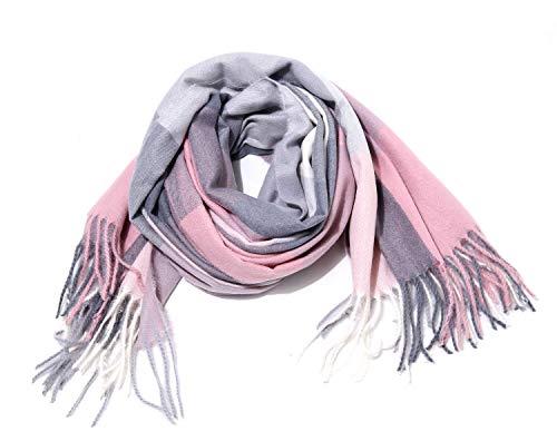 irisaa XXL Damen karierter Schal langer Winterschal warm und weich 192cm×72cm, Schals Farbe 2019:Pink-Grau