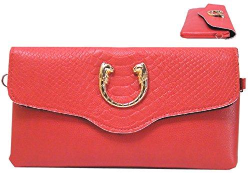 Borsa Da Sera Clutch In Similpelle Con Testa Di Leone Lunga 25 Cm (rossa) Rossa