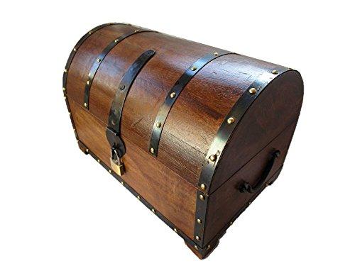 Geschenkhaus-Tom EJGS Schatzkiste Holzkiste Holzbox Truhe mit Schloss Aufbewahrungsbox Box Schatztruhe (30x20x20 cm)