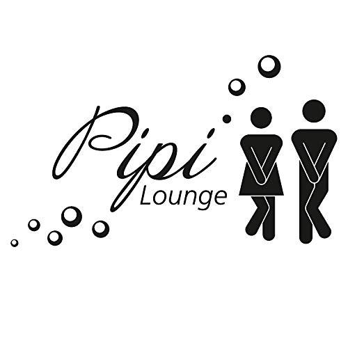 WC Tür-Aufkleber Pipi Lounge I hin_226 I in schwarz I Motiv Frau und Mann mit Spruch I für Badezimmer-Tür, Toilette I Folie selbstklebend