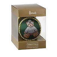 Harrods Christmas Bear 2019 Joshua Limited Edition Silk Panel Glass Bauble