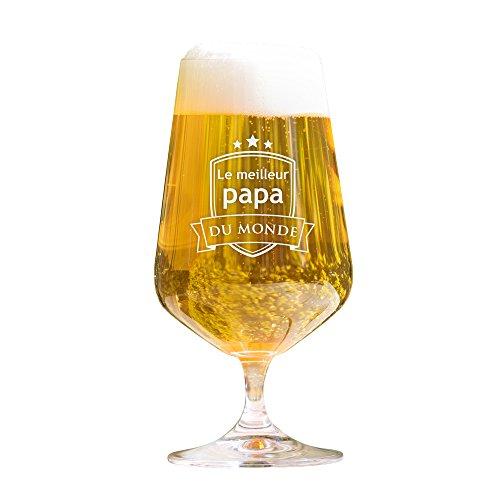 AMAVEL Verre à bière - Tulipe Pils avec Gravure - Le Papa du Monde - Standard - Motif 2 - Idées Cadeau pour Papas - Cadeau de fête des pères - Cadeau d'anniversaire