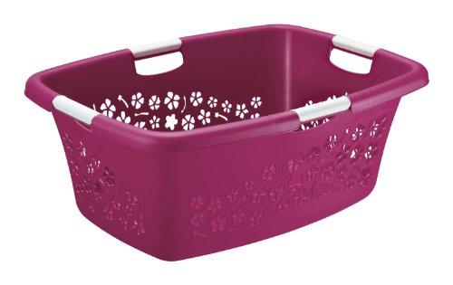 'Wäschekorb ''Flowers'' von Rotho aus Kunststoff/Plastik (PP) in pink/weiss | Gr. L, Inhalt ca. 50 Liter - diverse Größen auswählbar...