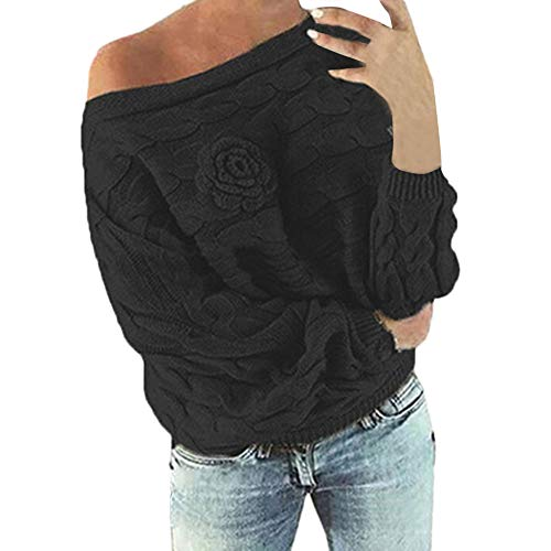 MEIbax Damen Multicolor Striple Flower Pullover beiläufige Gestrickte Long Sleeve Sweatshirt Strick Wollpullover Grobstrick