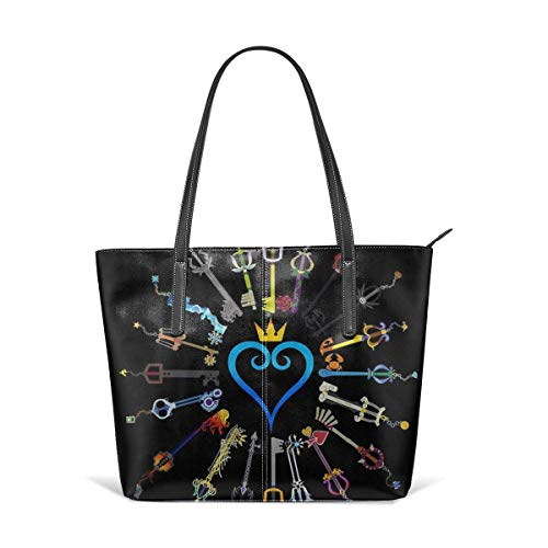 xcvgcxcbaoabo Mode Handtaschen Einkaufstasche Top Griff Umhängetaschen Kingdom Hearts Keyblades Leather Tote Large Purse Shoulder Bag Portable Storage HandBags Convenient Shoppers Tote