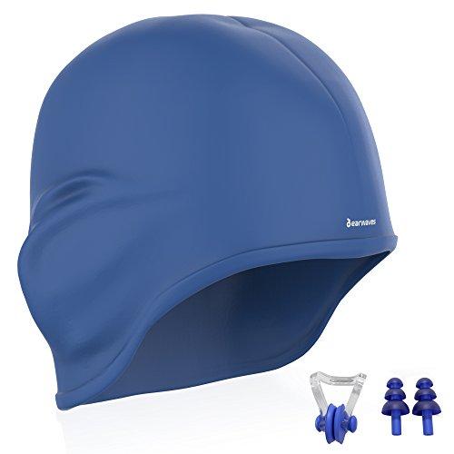 Earwaves ® H2O - Badekappe mit Ohrenschutz. Badehaube für mädchen, Damen, Jungen, Herren, Frauen aus Premium-silikon. Bademütze für Lange Haare. Schwimmkappe mit Enthält Ohrstöpsel & Nasenklemme.