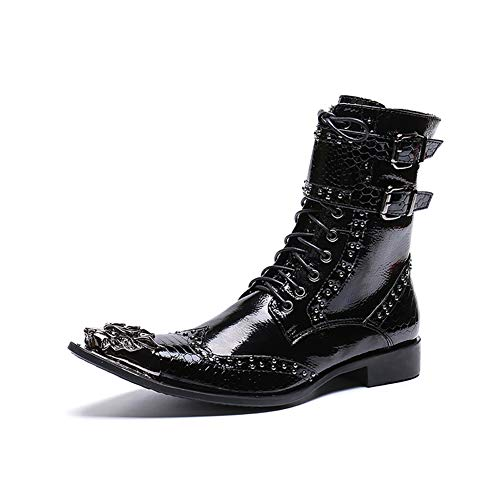 c8be507c9a67 Stivali da uomo Moda punk scarpe in pelle a punta corta martin stivali  personalizzati Western Cowboy