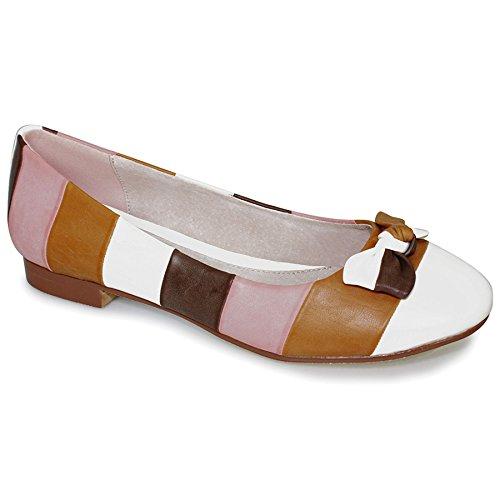 FANTASIA BOUTIQUE pour Femmes Multicolores Rayure Noeud Sur Le Devant Talon Bas femmes À Enfiler Confortable Chaussures Plates Multi Brun