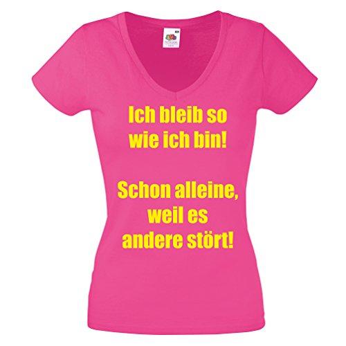 Lustiges Damen Shirt -Ich bleib so wie ich bin! Schon alleine, weil es andere stört! Lustiges Damen Shirt Gr. S - XXL Damen V-Neck T-Shirt Freche Sprüche Pink-Neongelb