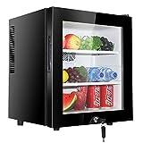HWG Mini Gefrierschrank 30L Mini Kühlschrank Mini Bar Kunststoffstecker Innenbeleuchtung Geeignet Für Kleine Familien,Black-A