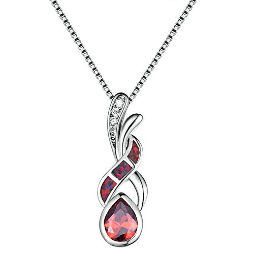 Yazilind Vintage Opal Anhänger Halskette Exquisite Schlüsselbein Kleid Halsketten Platin Überzogene Kette Schmuck für Dame Mädchen Geschenk (rot)