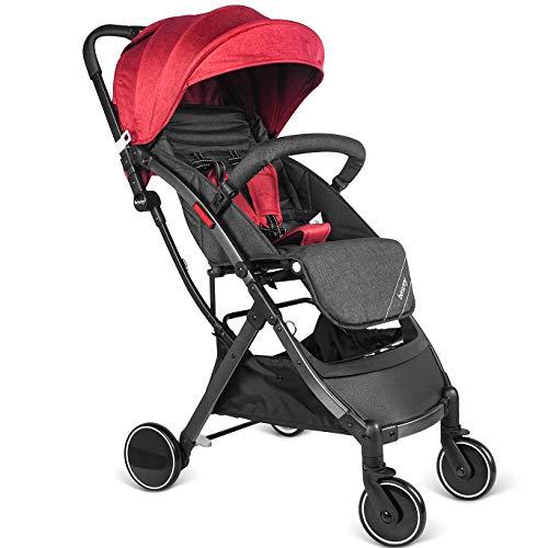 Besrey Buggy Kinderwagen Reisebuggy einhand kompakt klappbar mit Liegeposition ab Geburt bis 3 Jahren + Regenverdeck Schwarz & Rot ...