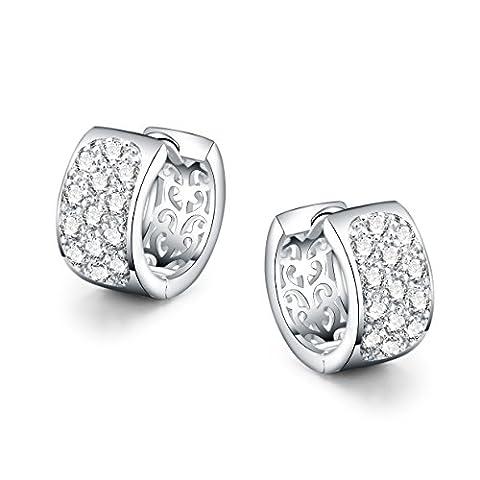 Platinum Plated - AAA Cubic Zirconia - Circles Drop Earrings