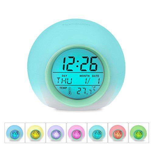 HAMSWAN JL-C018 7 Farben Ändern Wecker Natur Tüne Eine Tap Control Schlaf-Friendly mit Innentemperaturanzeige für Arbeit Eltern, Studenten etc (Hellgrün) Sound Aktiviert Led-licht