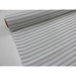 Metraje 0,50 mts tejido loneta estampada Ref. Rayas Blanco Gris, con ancho 2,80 mts.