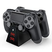 PS4 Controller Charger, ADZ Compact PS4 Charger With PS4 Controller Charger Cable, Super Fast PS4 Charging Dock for Playstation Controller PS4 / PS4 Slim / PS4 Pro Controller